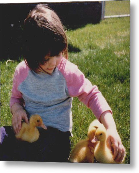 Baby Duck Love Metal Print