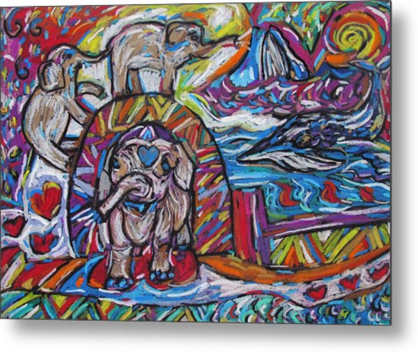 Baby Elephants By The Sea Metal Print