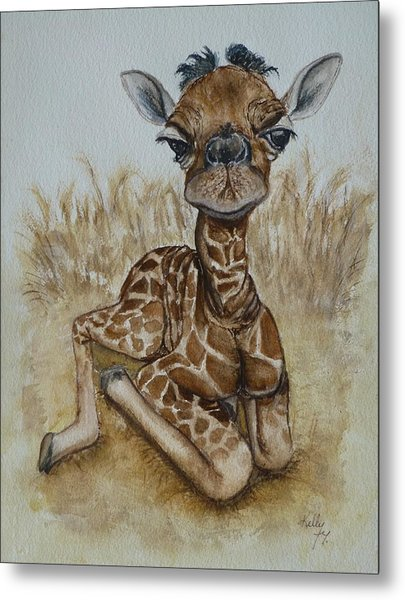 New Born Baby Giraffe Metal Print