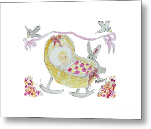 Metal Print featuring the painting Baby Girl With Bunny And Birds by Claire Bull