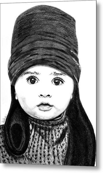 Metal Print featuring the drawing Baby Its Cold Outside by Donna Proctor