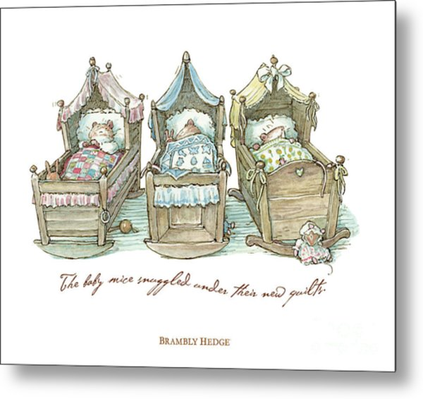 The Brambly Hedge Baby Mice Snuggle In Their Cots Metal Print