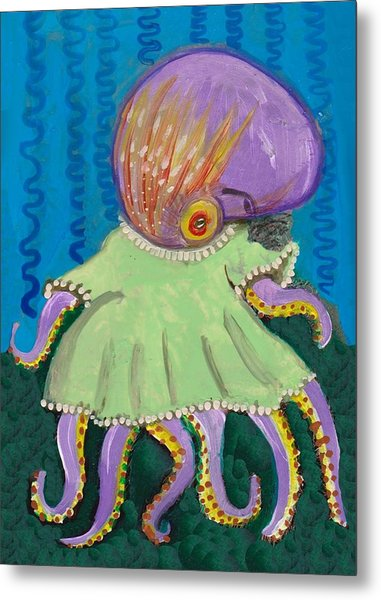 Baby Octopus In A Dress Metal Print