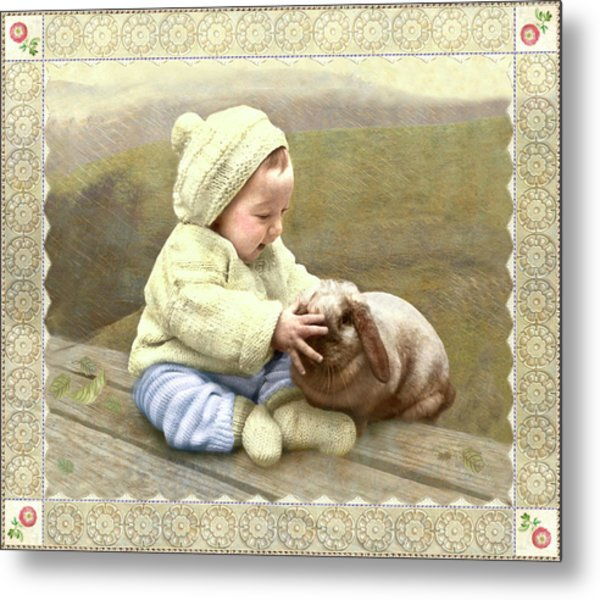 Baby Touches Bunny's Nose Metal Print