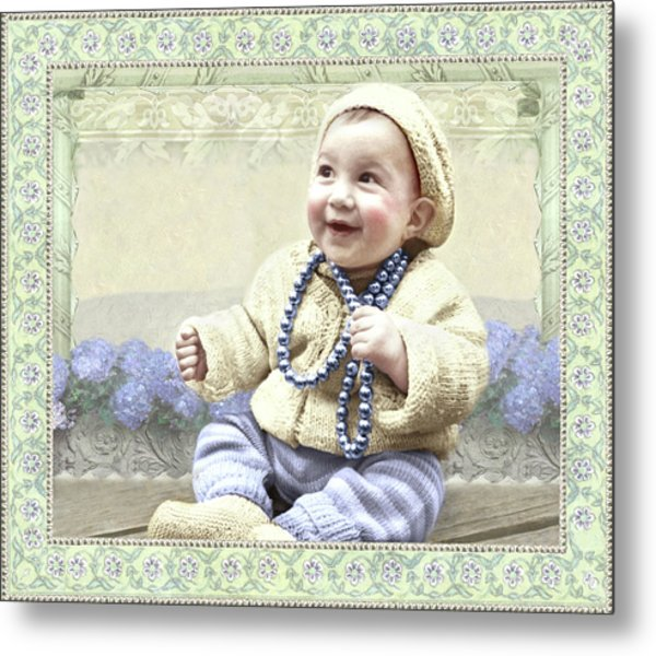 Baby Wears Beads Metal Print