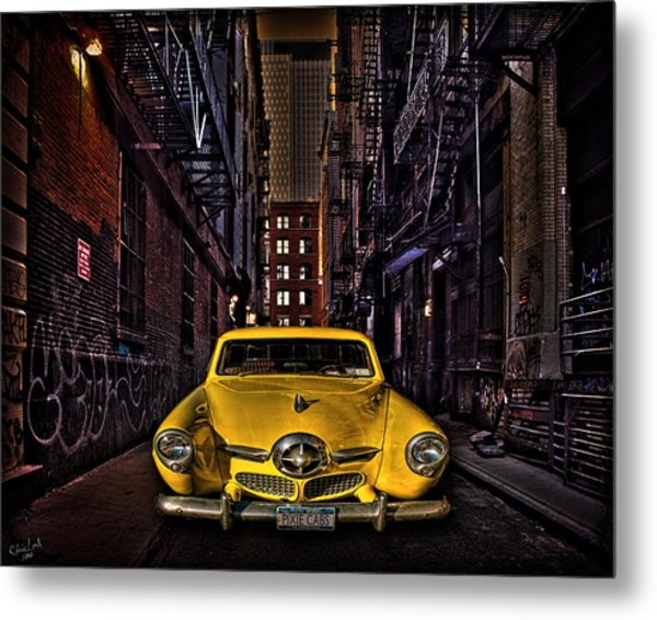 Back Alley Taxi Cab Metal Print