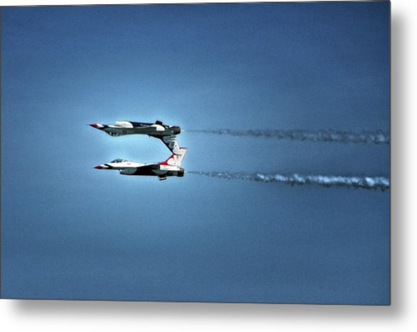 Metal Print featuring the photograph Back To Back Thunderbirds Over The Beach by Bill Swartwout Fine Art Photography