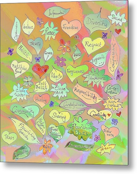 Back To The Garden Leaves, Hearts, Flowers, With Words Metal Print