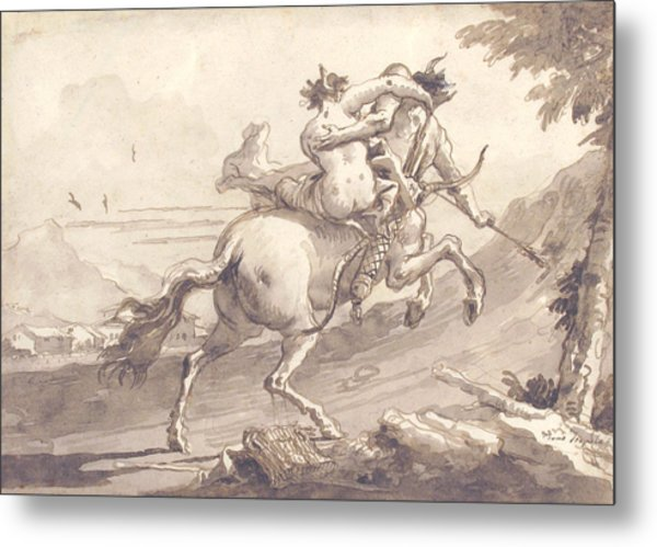 Back View Of A Centaur Abducting A Satyress Metal Print