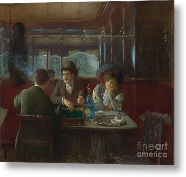 Backgammon At The Cafe Metal Print