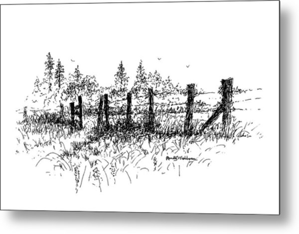 Backlit Fence Metal Print