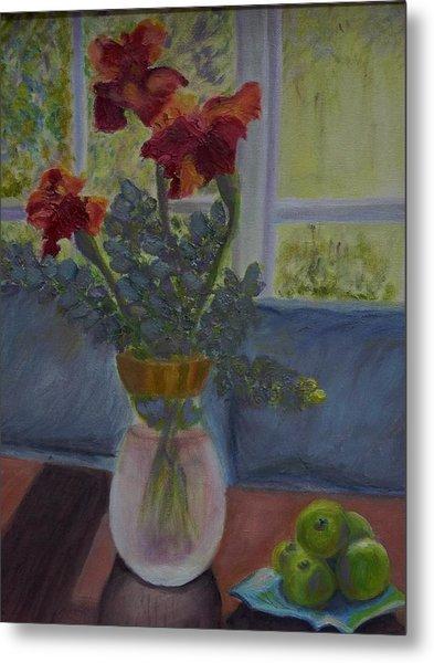 Backlit Irises Metal Print by Bonnie Hanly