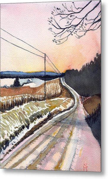 Backlit Roads Metal Print