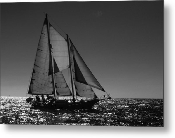 Backlit Schooner 2 Metal Print
