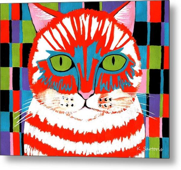 Bad Cattitude - Contemporary Cat Art Metal Print