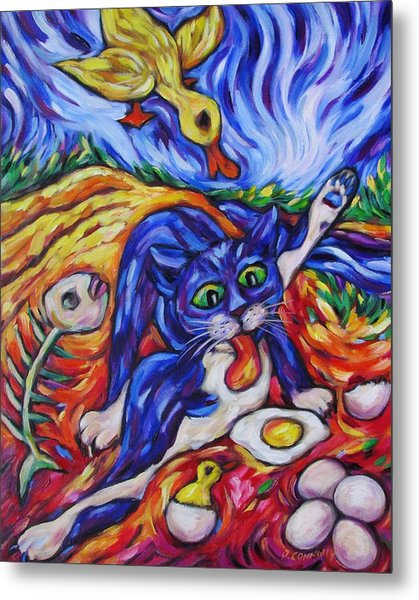 Bad Kitty Gets Caught Metal Print by Dianne  Connolly