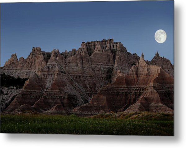 Metal Print featuring the photograph Badlands Moon Rising by Jemmy Archer
