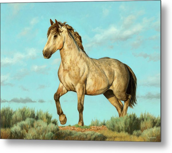 Badlands Mustang Metal Print