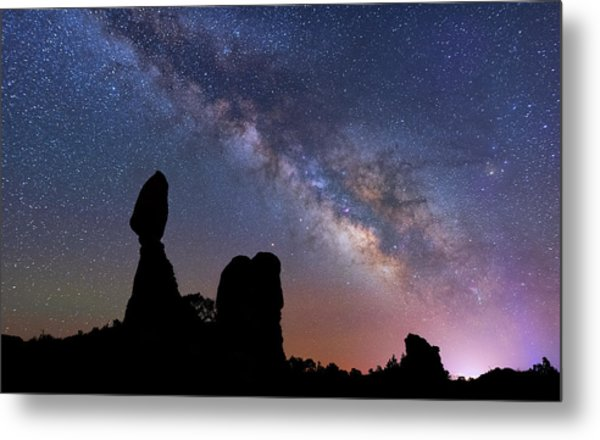 Metal Print featuring the photograph Balanced Rock Milky Way by Darren White