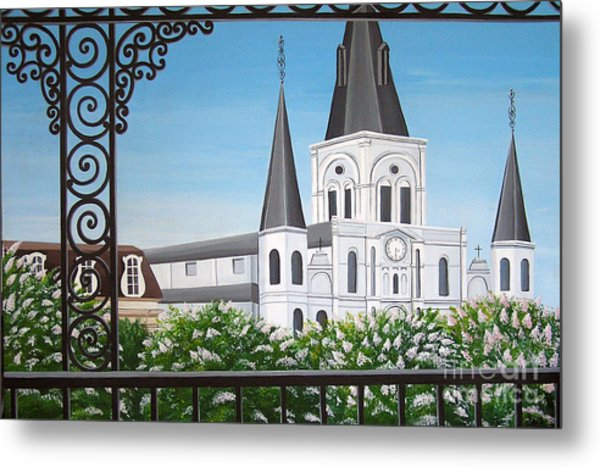 Balcony View Of St Louis Cathedral Metal Print