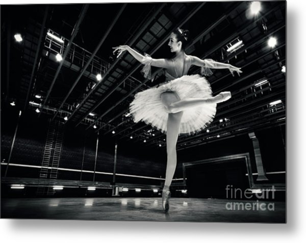 Metal Print featuring the photograph Ballerina In The White Tutu by Dimitar Hristov