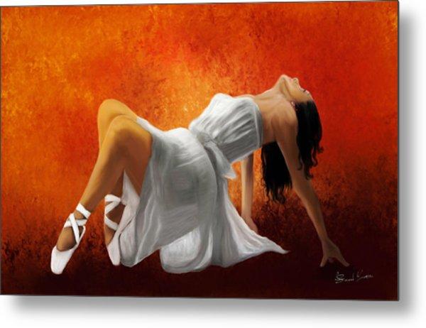 Ballerina In White Metal Print