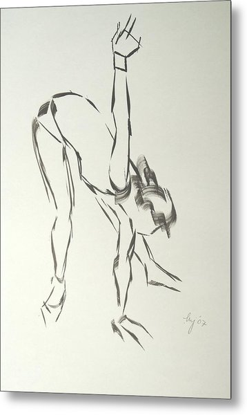 Ballet Dancer Bending And Stretching Metal Print