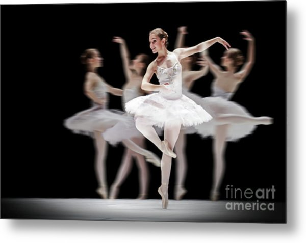 Metal Print featuring the photograph Ballet Dancer Dance Photography Long Exposure by Dimitar Hristov