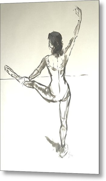 Ballet Dancer With Left Leg On Bar Metal Print