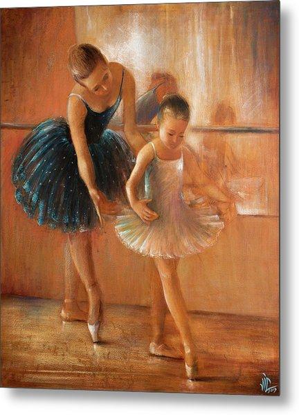 ballet lesson-painting on leather by Vali Irina Ciobanu  Metal Print