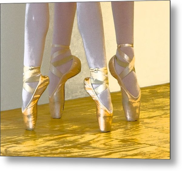 Ballet Second Position In Gold Metal Print