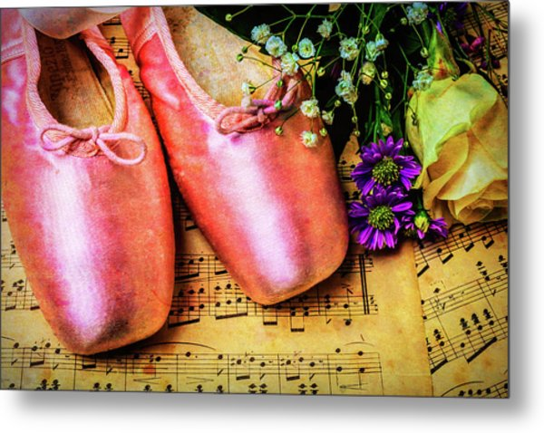 Ballet Shoes And Old Sheet Music Metal Print