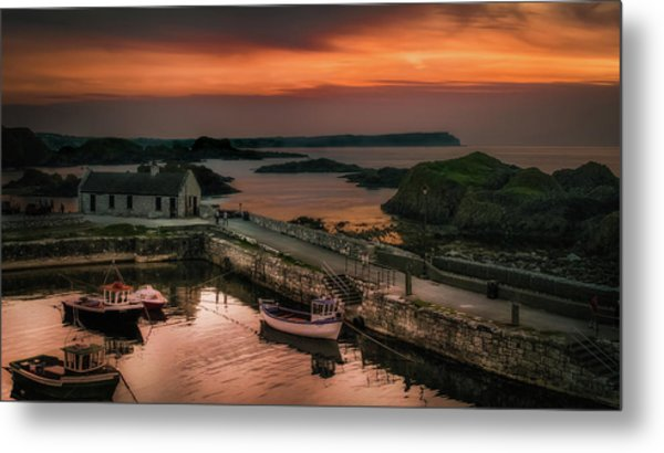 Ballintoy Harbour Sunset Metal Print