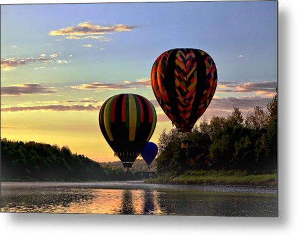 Balloon River Flight Metal Print by Gary Smith
