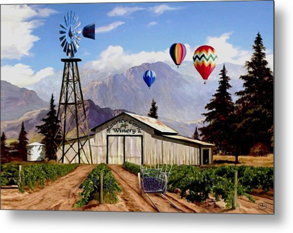 Balloons Over The Winery 1 Metal Print