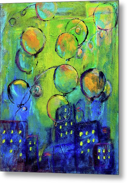 Cheerful Balloons Over City Metal Print