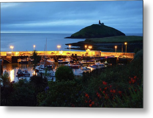 Ballycotton Ireland Marina Harbour And Lighthouse East County Cork Metal Print