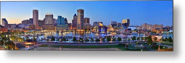 Baltimore Skyline Inner Harbor Panorama At Dusk Metal Print