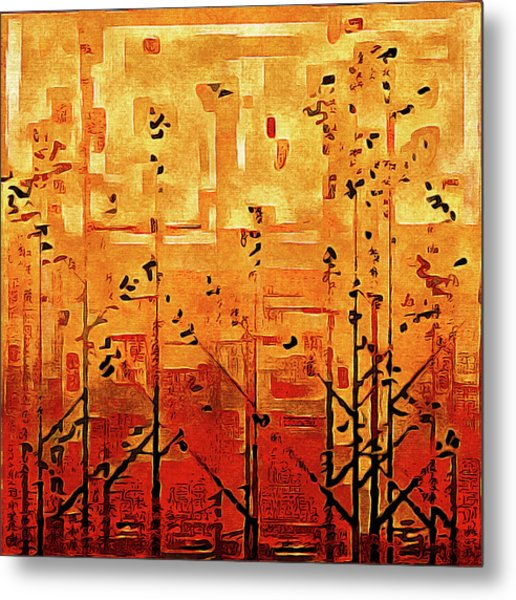 Metal Print featuring the painting Bamboo by Susan Maxwell Schmidt