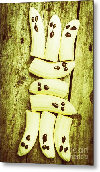 Bananas With Painted Chocolate Faces Metal Print