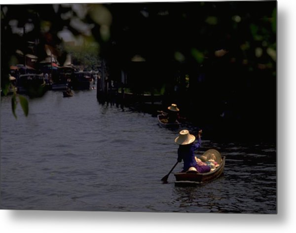 Bangkok Floating Market Metal Print