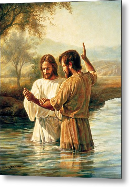 Metal Print featuring the painting Baptism Of Christ by Greg Olsen