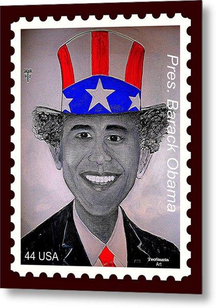 Barack Obama Postage Stamp Metal Print by Teodoro De La Santa