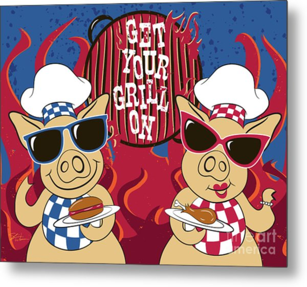 Barbecue Pigs Metal Print