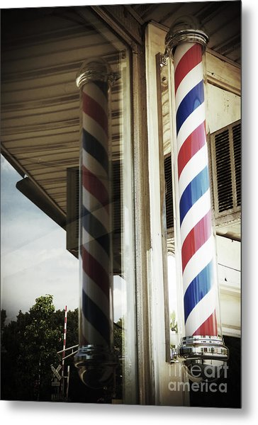 Barbershop Pole Metal Print