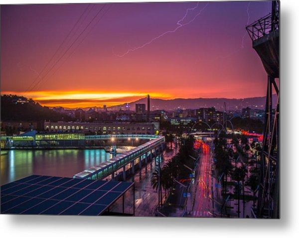 Barcelona Lightning Storm Metal Print by Ryan McKee