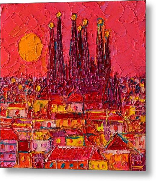 Barcelona Moon Over Sagrada Familia - Palette Knife Oil Painting By Ana Maria Edulescu Metal Print