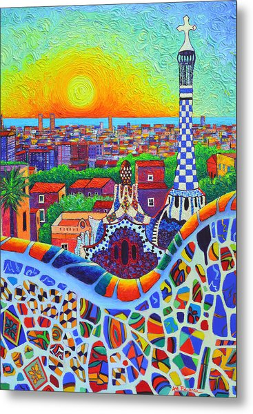 Barcelona Park Guell Sunrise Gaudi Tower Textural Impasto Knife Oil Painting By Ana Maria Edulescu Metal Print