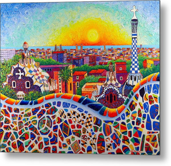Barcelona Sunrise Colors From Park Guell Modern Impressionism Knife Oil Painting Ana Maria Edulescu Metal Print