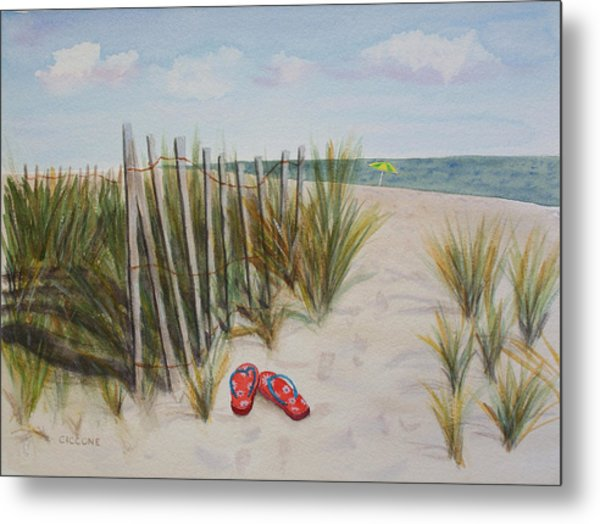 Barefoot On The Beach Metal Print